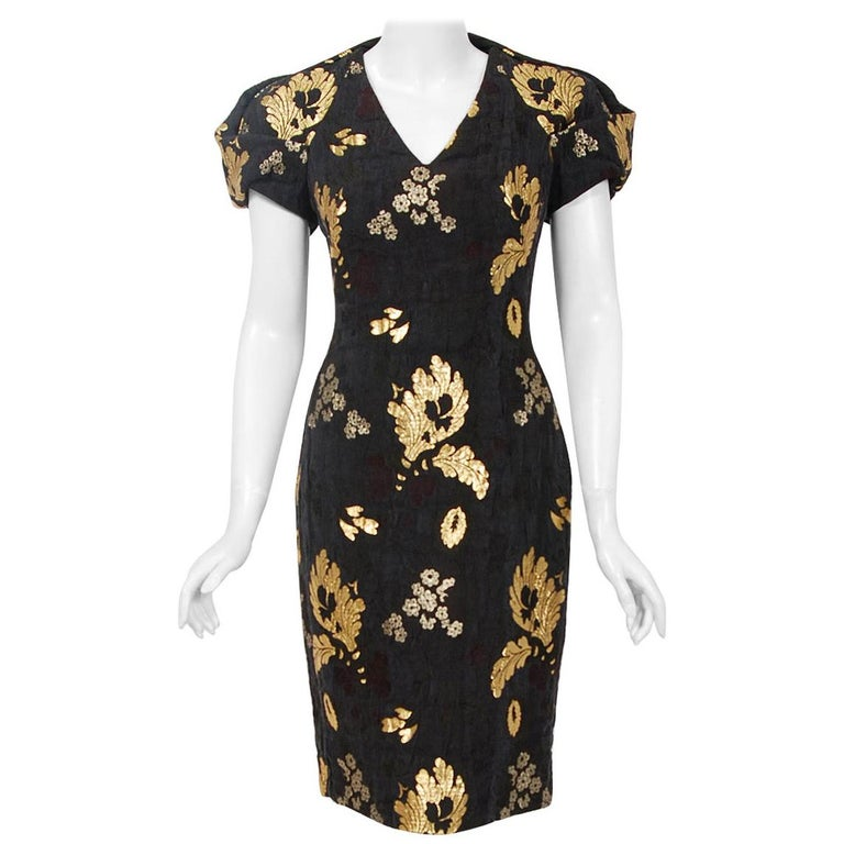 2010 Alexander McQueen Final Runway Collection Metallic-Gold Black Brocade Dress
