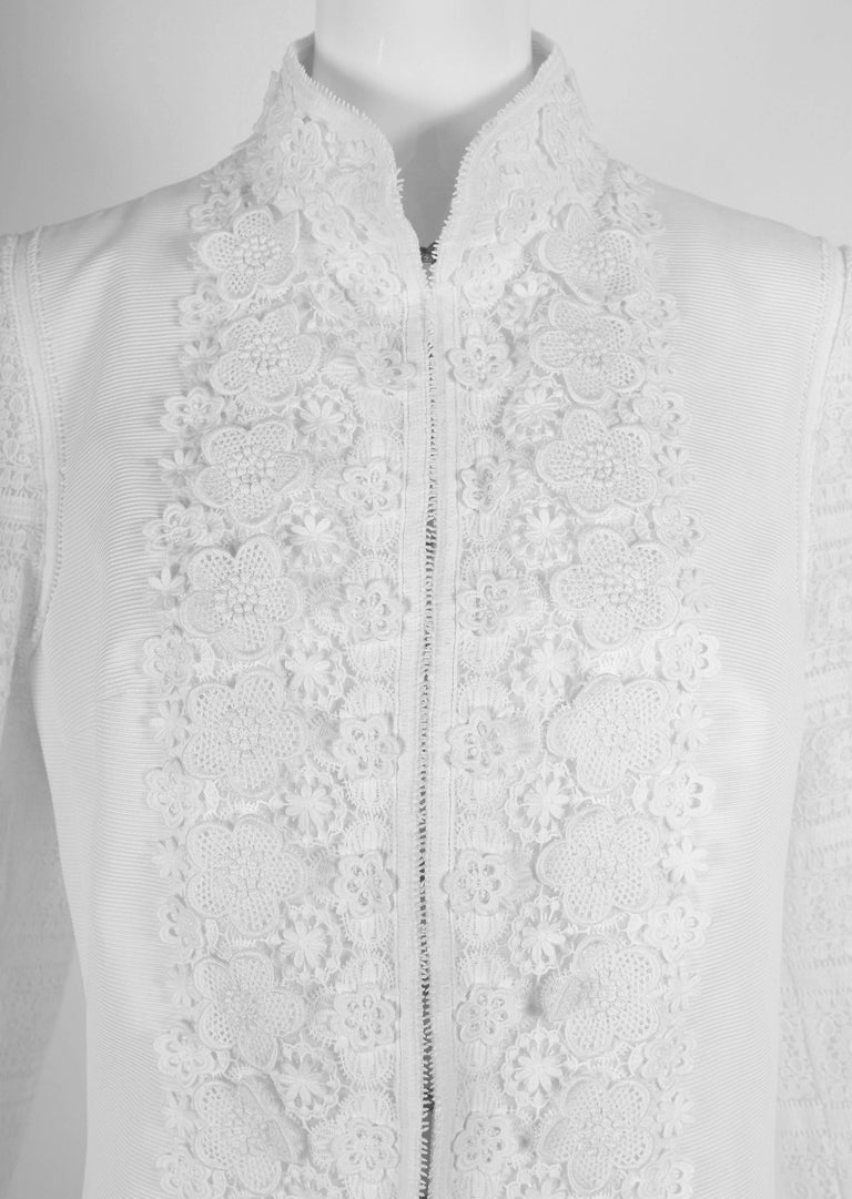 Women's 2010 Andrew Gn Atelier White Lace Long Sleeved Jacket Coat For Sale