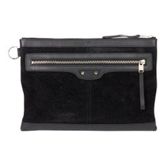 2010 Balenciaga Black Calfskin Leather & Suede City Pouch