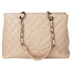 2010 Beige Quilted Caviar Leather Grand Shopping Tote GST