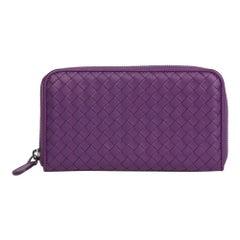 2010 Bottega Veneta Corot Purple Woven Lambskin Zip Around Wallet