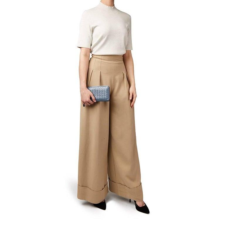 2015 Bottega Veneta Light Tourmaline Woven Calfskin Leather Zip Around Wallet  5