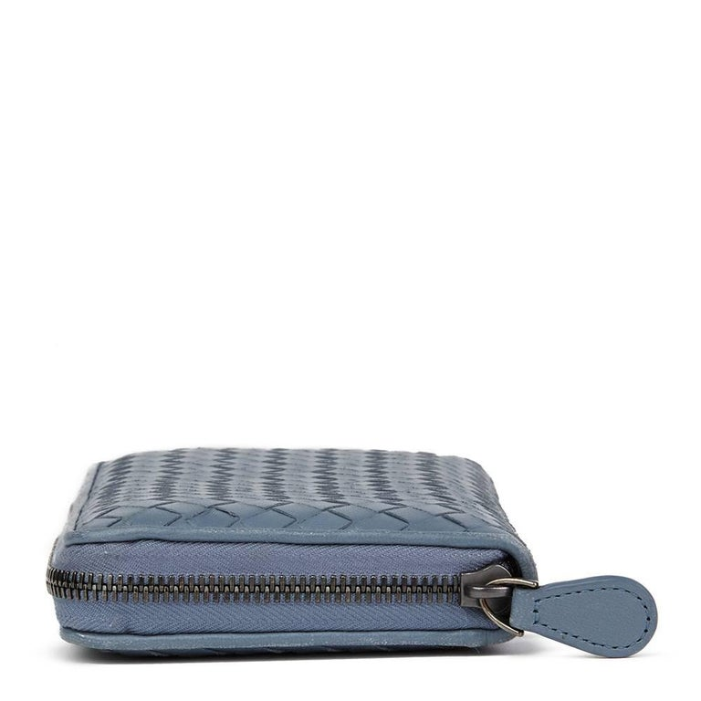 BOTTEGA VENETA Light Tourmaline Woven Calfskin Leather Zip Around Wallet  Reference: HB1803 Serial Number: B01383787P Age (Circa): 2015 Accompanied By: Bottega Veneta Dust Bag, Box, Care Booklet Authenticity Details: Authenticity Tag (Made in