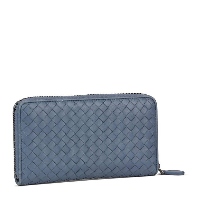 Gray 2015 Bottega Veneta Light Tourmaline Woven Calfskin Leather Zip Around Wallet
