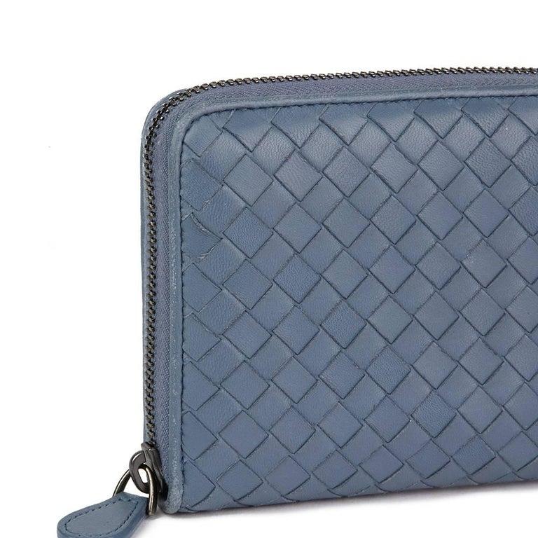 Women's 2015 Bottega Veneta Light Tourmaline Woven Calfskin Leather Zip Around Wallet