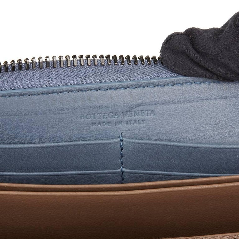 2015 Bottega Veneta Light Tourmaline Woven Calfskin Leather Zip Around Wallet  1
