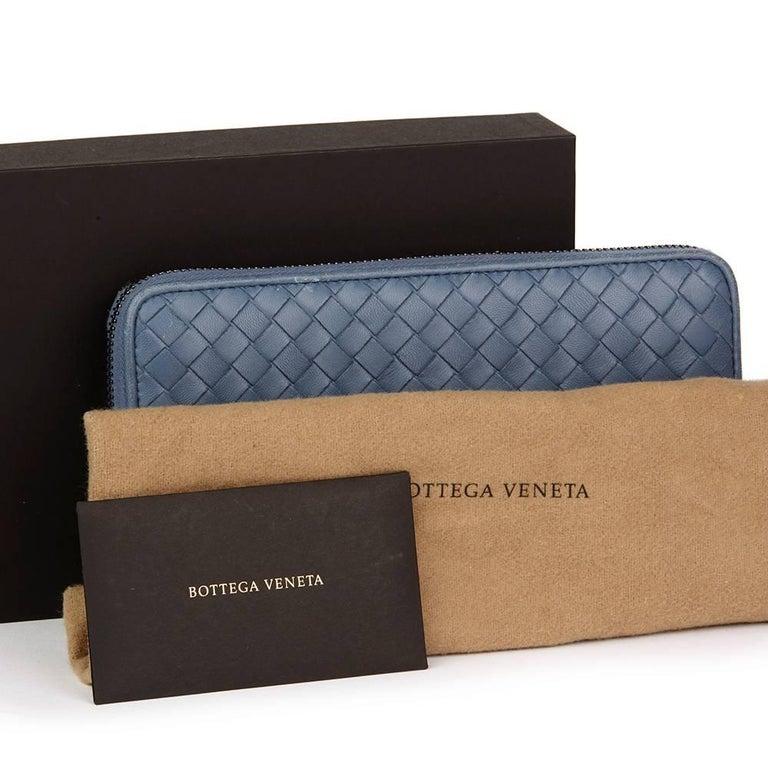 2015 Bottega Veneta Light Tourmaline Woven Calfskin Leather Zip Around Wallet  4