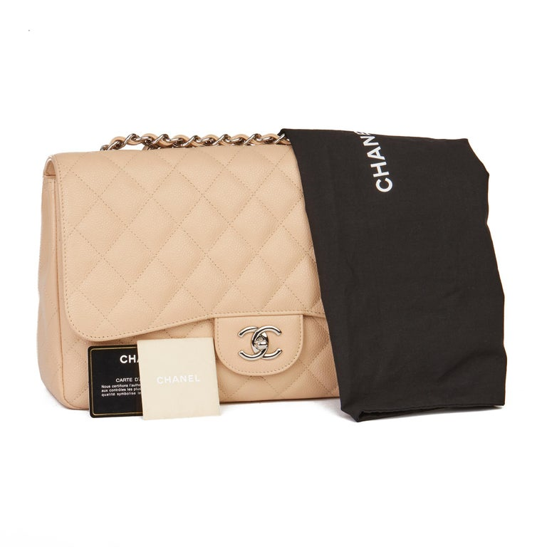 2010 Chanel Beige Quilted Caviar Leather Jumbo Classic Single Flap Bag For Sale 8
