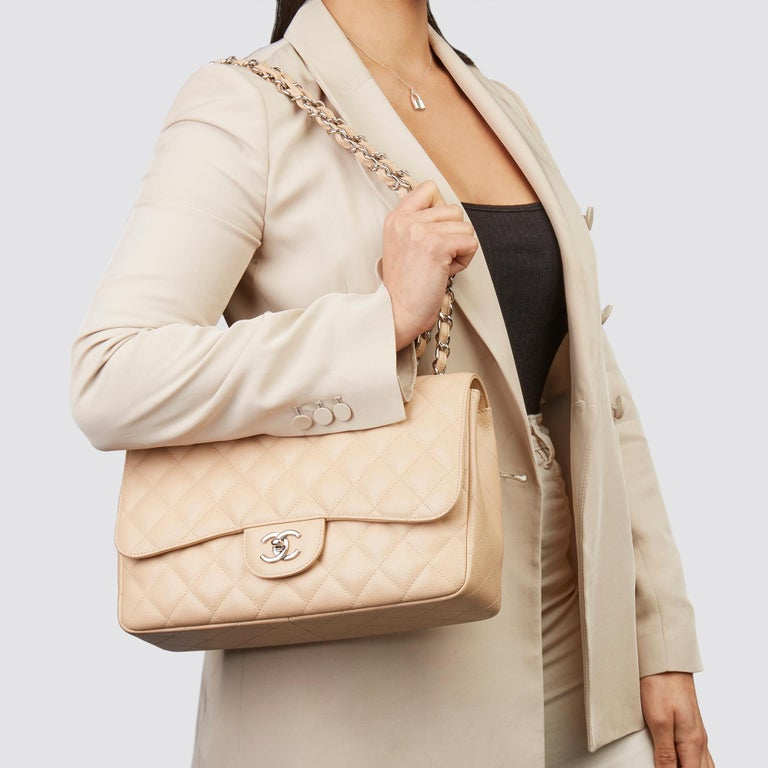 2010 Chanel Beige Quilted Caviar Leather Jumbo Classic Single Flap Bag For Sale 9