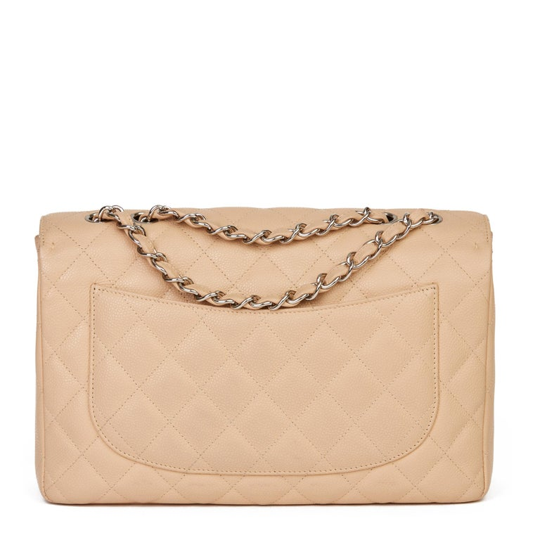 Women's 2010 Chanel Beige Quilted Caviar Leather Jumbo Classic Single Flap Bag For Sale