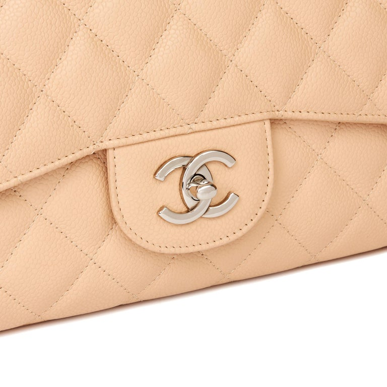 2010 Chanel Beige Quilted Caviar Leather Jumbo Classic Single Flap Bag For Sale 2