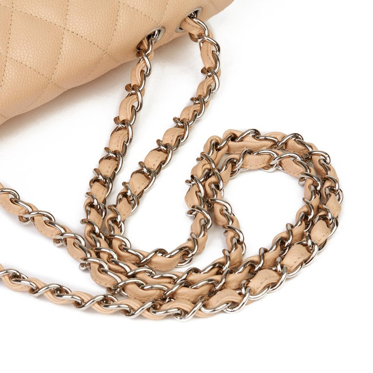 2010 Chanel Beige Quilted Caviar Leather Jumbo Classic Single Flap Bag For Sale 3