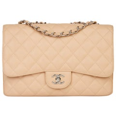 2010 Chanel Beige Quilted Caviar Leather Jumbo Classic Single Flap Bag