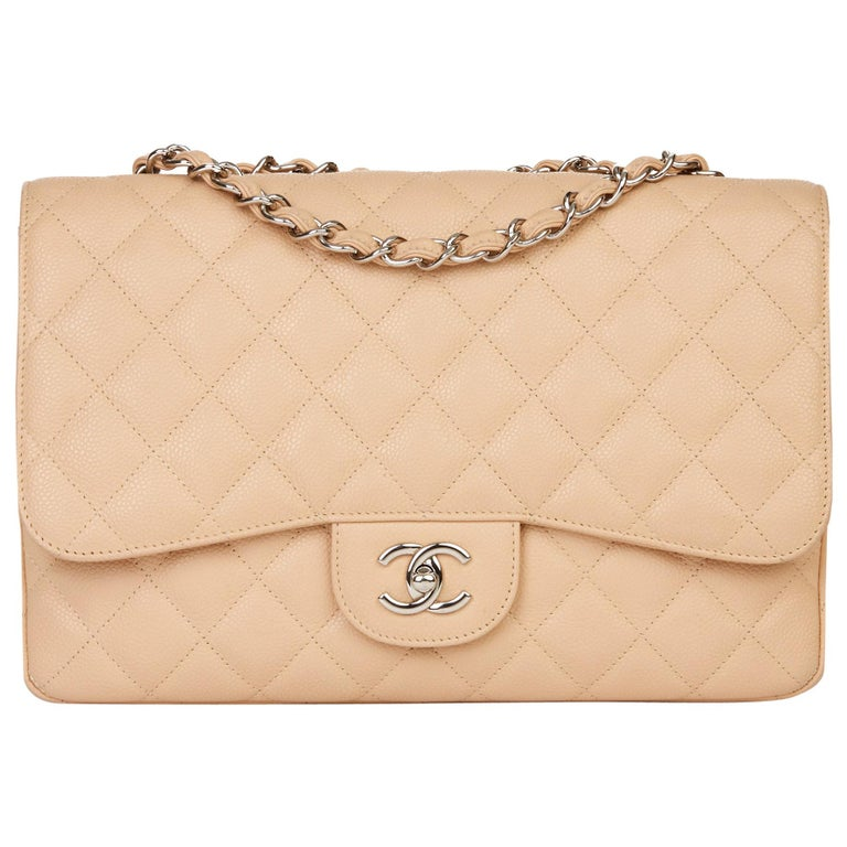 2010 Chanel Beige Quilted Caviar Leather Jumbo Classic Single Flap Bag For Sale