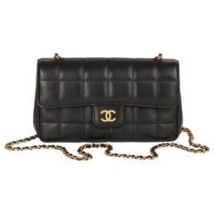 2010 Chanel Black Chocolate Bar Quilted Lambskin Mini Flap Bag
