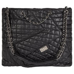 2010 Chanel Black Quilted Aged Calfskin Leather Fantasy Shopping Tote