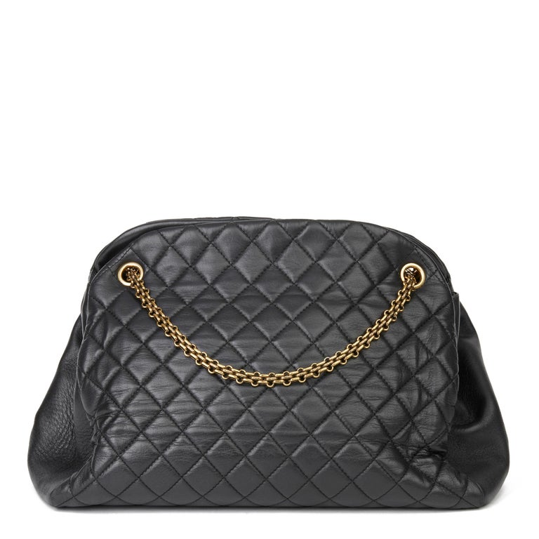 2010 Chanel Black Quilted Lambskin Large Just Mademoiselle Bowling Bag In Good Condition For Sale In Bishop's Stortford, Hertfordshire