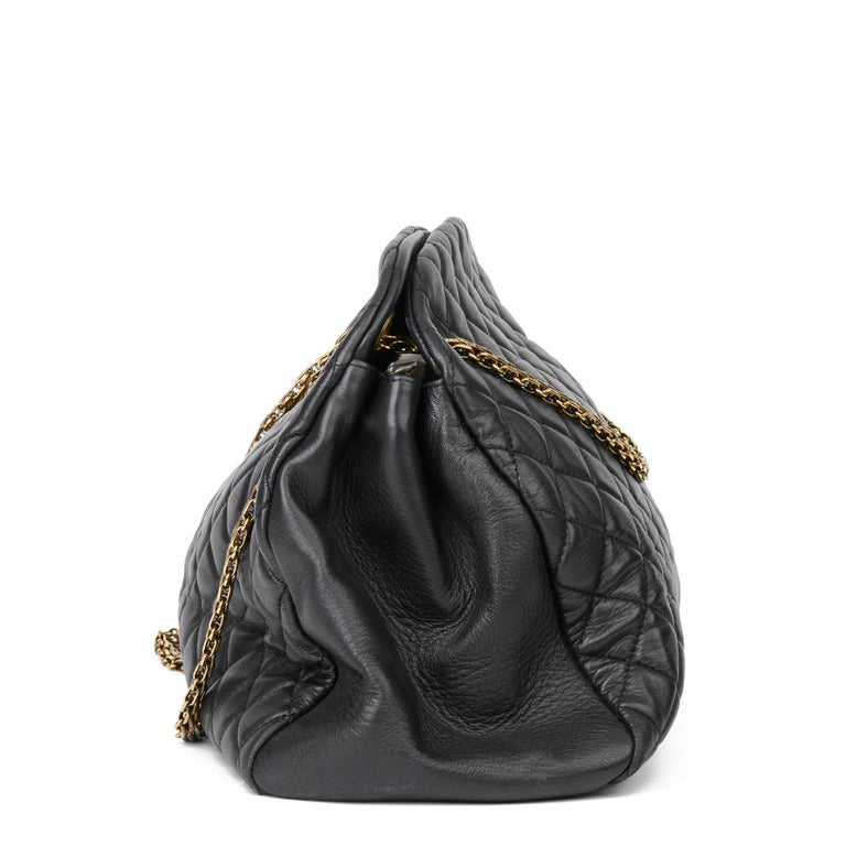 Women's 2010 Chanel Black Quilted Lambskin Large Just Mademoiselle Bowling Bag For Sale