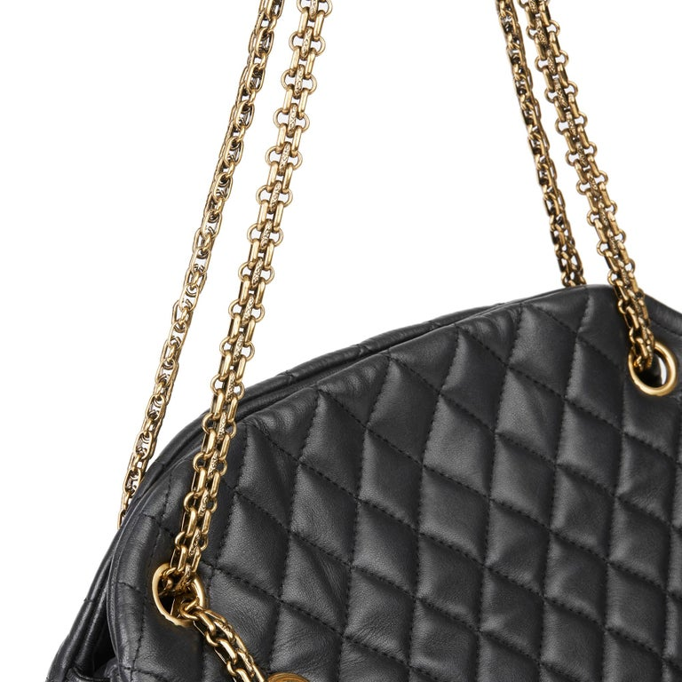 2010 Chanel Black Quilted Lambskin Large Just Mademoiselle Bowling Bag For Sale 3