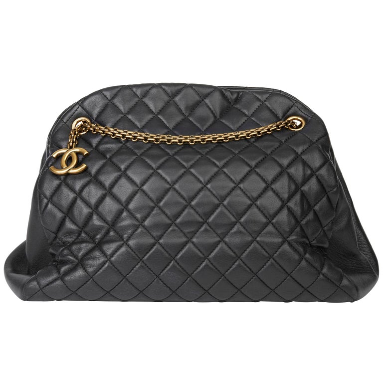 2010 Chanel Black Quilted Lambskin Large Just Mademoiselle Bowling Bag For Sale