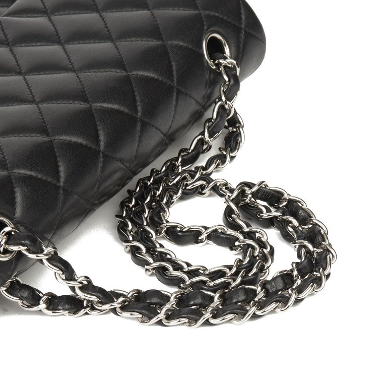 2010 Chanel Black Quilted Lambskin Medium Classic Double Flap Bag  4