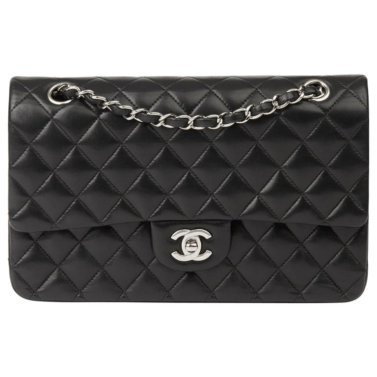2010 Chanel Black Quilted Lambskin Medium Classic Double Flap Bag