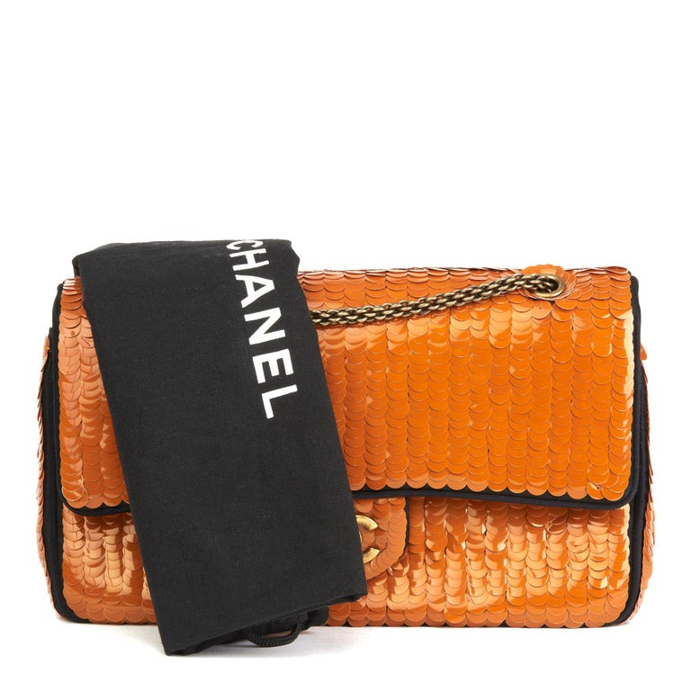 2010 Chanel Black Satin & Orange Sequin Embellished Medium Classic Double Flap  For Sale 6