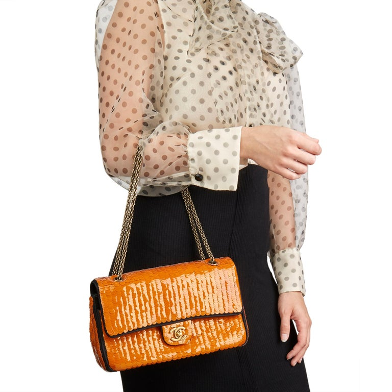 2010 Chanel Black Satin & Orange Sequin Embellished Medium Classic Double Flap  For Sale 7