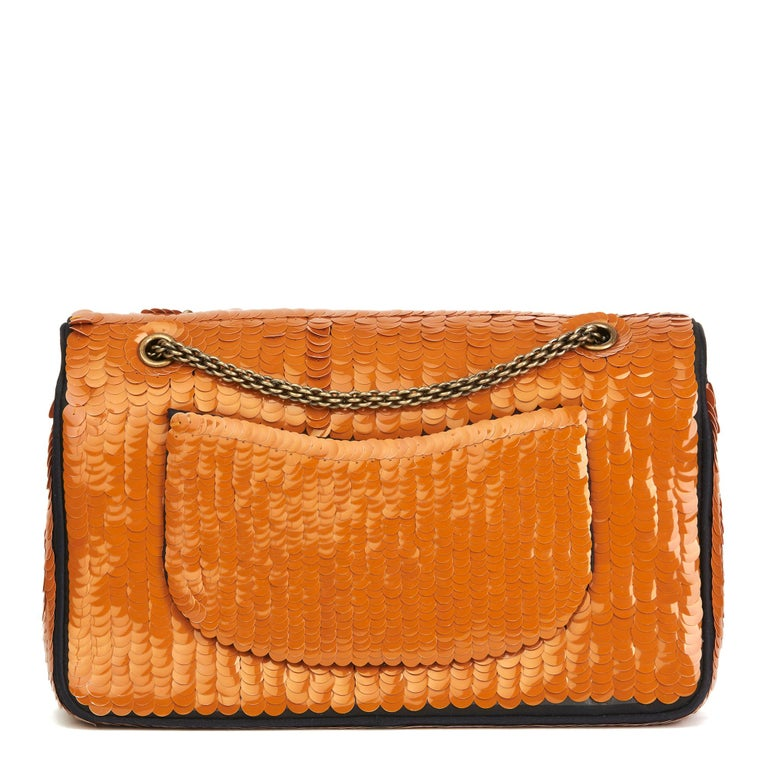 Women's 2010 Chanel Black Satin & Orange Sequin Embellished Medium Classic Double Flap  For Sale