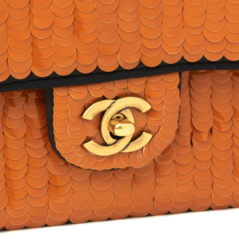 2010 Chanel Black Satin & Orange Sequin Embellished Medium Classic Double Flap  For Sale 2
