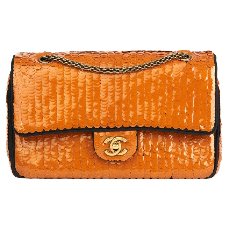 2010 Chanel Black Satin & Orange Sequin Embellished Medium Classic Double Flap  For Sale