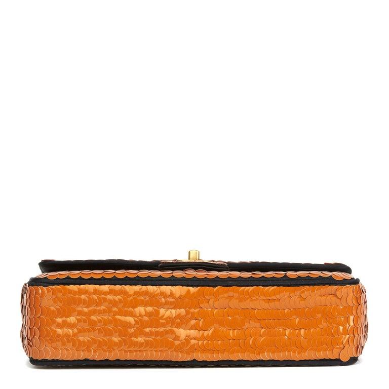 Women's 2010 Chanel Black Satin & Orange Sequin Paris-Shanghai Medium Classic For Sale
