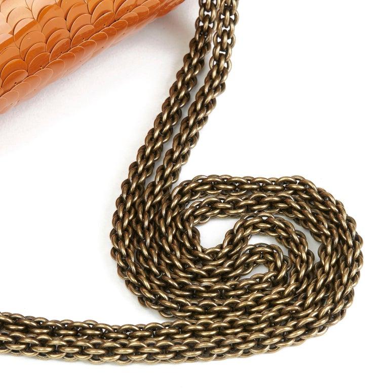 2010 Chanel Black Satin & Orange Sequin Paris-Shanghai Medium Classic For Sale 2