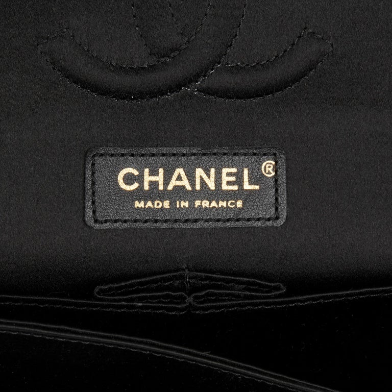 2010 Chanel Black Satin & Orange Sequin Paris-Shanghai Medium Classic For Sale 3