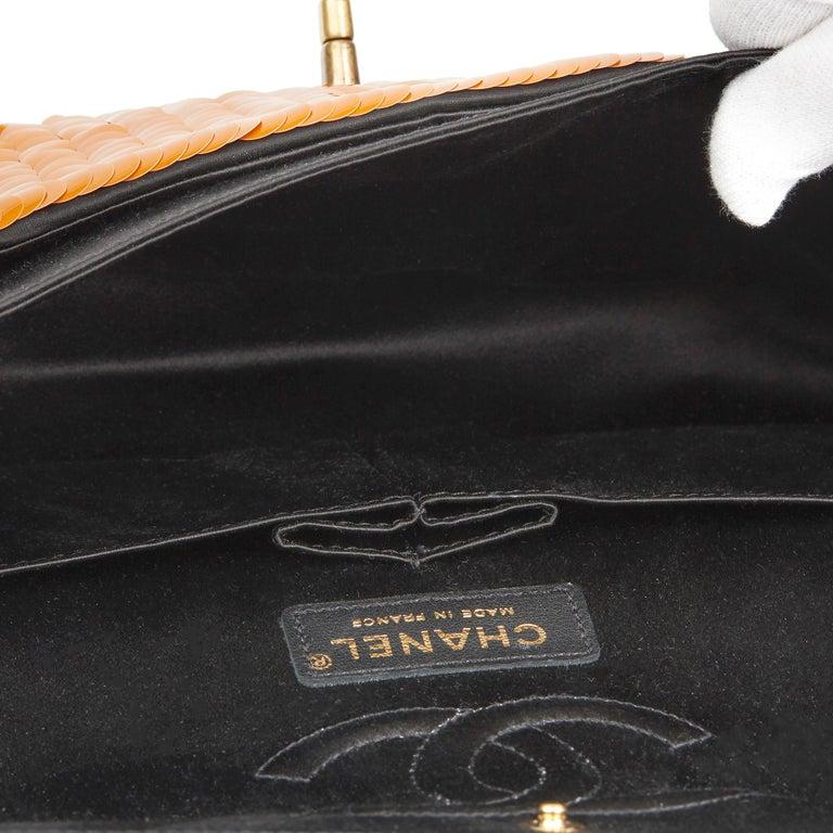 2010 Chanel Black Satin & Orange Sequin Paris-Shanghai Medium Classic For Sale 4