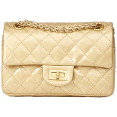 2010 Chanel Gold Quilted Metallic Aged Patent Leather Reissue Double Flap Bag