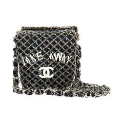 2010 Chanel Grey Embellished Tweed Paris-Shanghai Take Away Box Bag