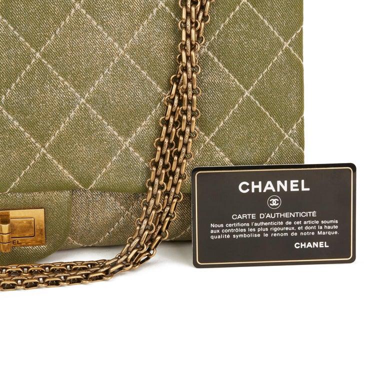2010 Chanel Khaki Metallic Coated Denim 2.55 Reissue 227 Double Flap Bag For Sale 6
