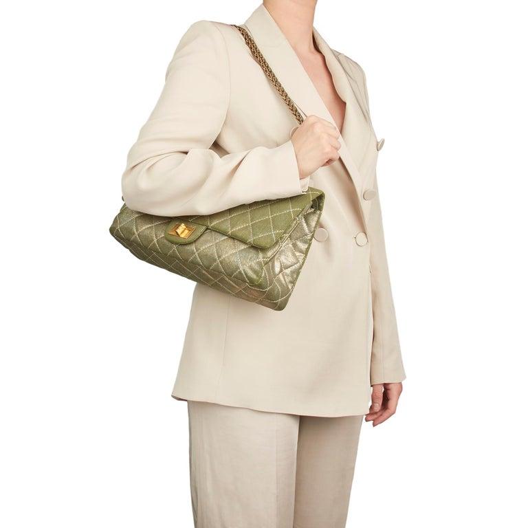 2010 Chanel Khaki Metallic Coated Denim 2.55 Reissue 227 Double Flap Bag For Sale 7