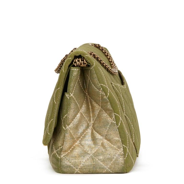 Brown 2010 Chanel Khaki Metallic Coated Denim 2.55 Reissue 227 Double Flap Bag For Sale