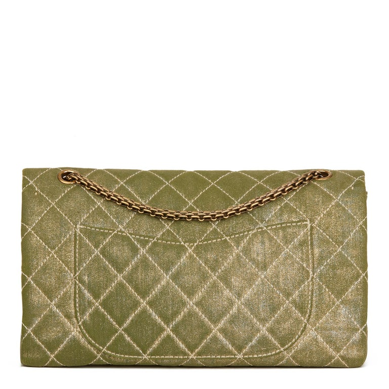 2010 Chanel Khaki Metallic Coated Denim 2.55 Reissue 227 Double Flap Bag In Excellent Condition For Sale In Bishop's Stortford, Hertfordshire