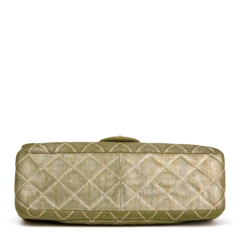 Women's 2010 Chanel Khaki Metallic Coated Denim 2.55 Reissue 227 Double Flap Bag For Sale