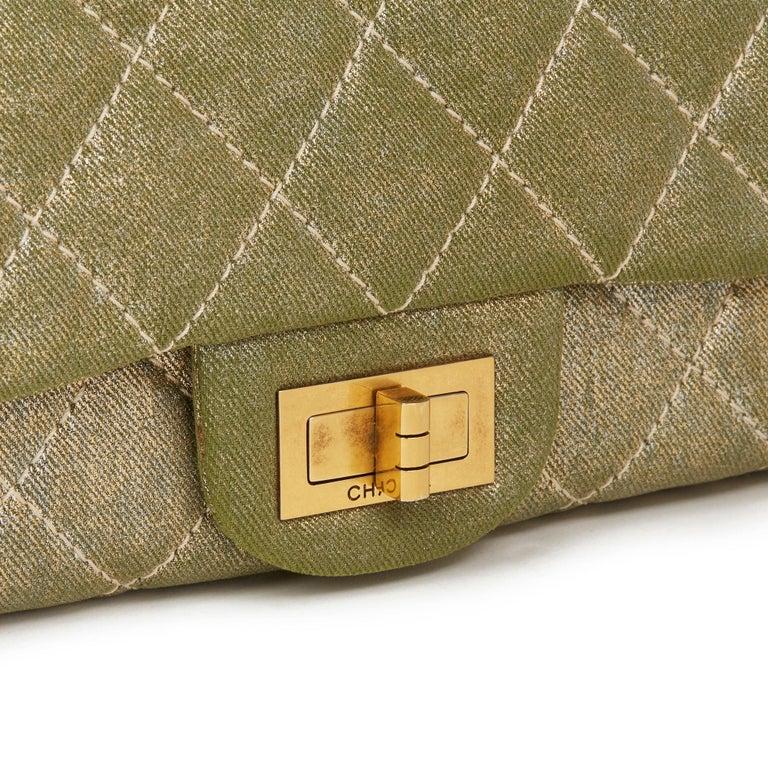 2010 Chanel Khaki Metallic Coated Denim 2.55 Reissue 227 Double Flap Bag For Sale 1