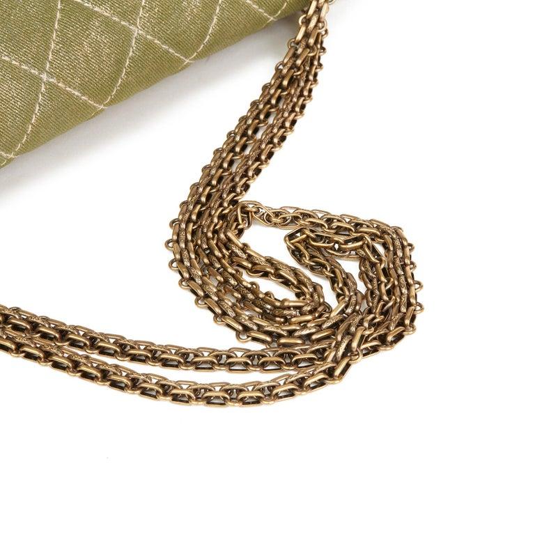 2010 Chanel Khaki Metallic Coated Denim 2.55 Reissue 227 Double Flap Bag For Sale 2