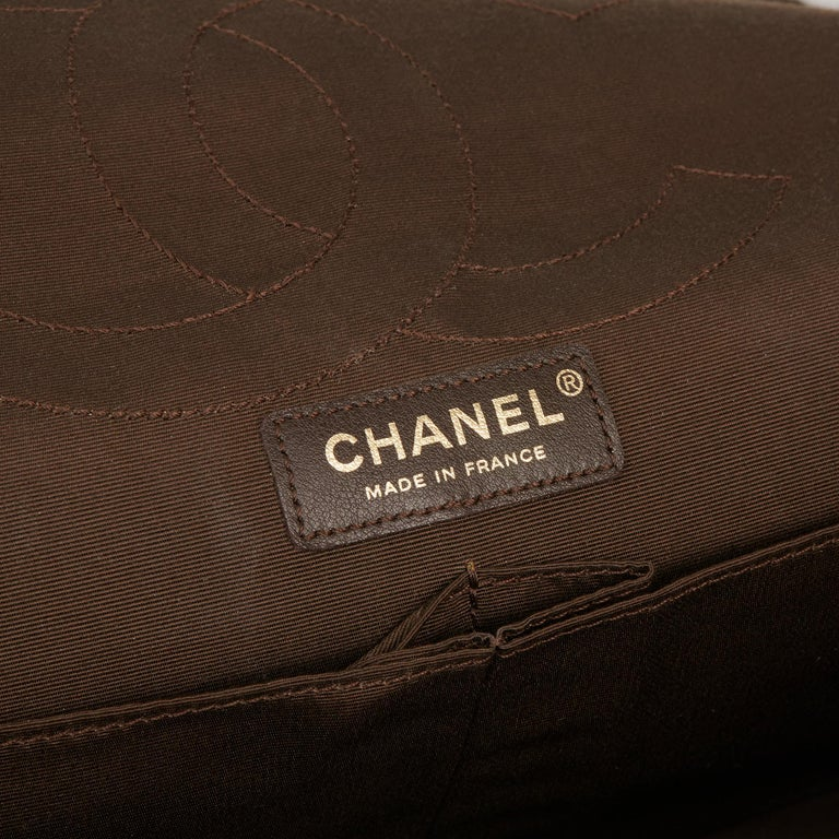 2010 Chanel Khaki Metallic Coated Denim 2.55 Reissue 227 Double Flap Bag For Sale 3
