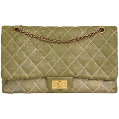 2010 Chanel Khaki Metallic Coated Denim 2.55 Reissue 227 Double Flap Bag