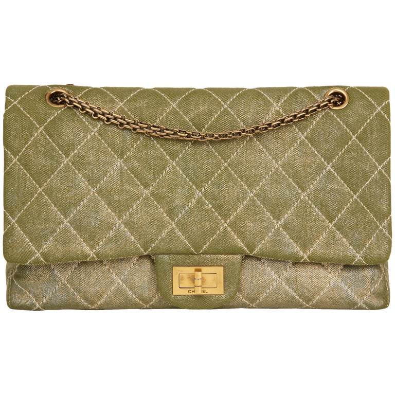 2010 Chanel Khaki Metallic Coated Denim 2.55 Reissue 227 Double Flap Bag For Sale