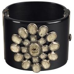 2010 CHANEL Logo Gripoix Resin Cuff Bracelet