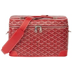 2010 Goyard Red Chevron Canvas Train Case