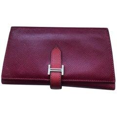 2010 Hermes Bearn Chevre Mysore Tri=Fold Wallet